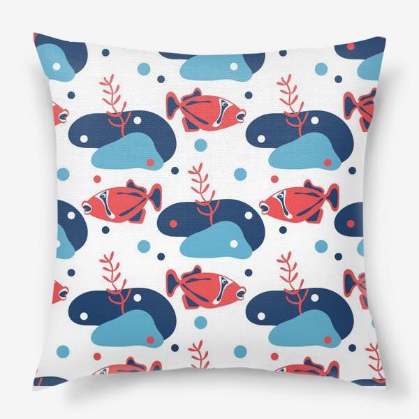 Подушка «Подводный мир, Рыбы,»