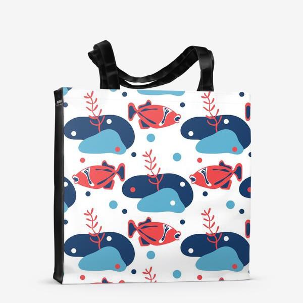 Сумка-шоппер «Подводный мир, Рыбы,»