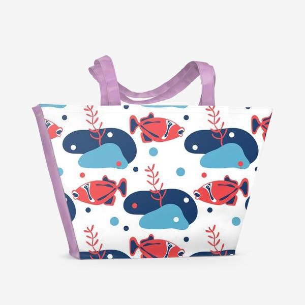 Пляжная сумка «Подводный мир, Рыбы,»