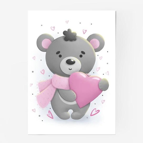 Постер «Серый мишка с сердцем»