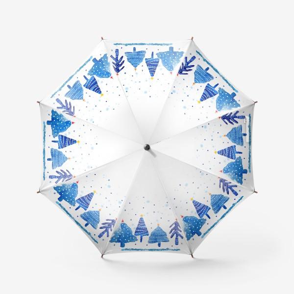 Зонт «Зимние новогодние елки»