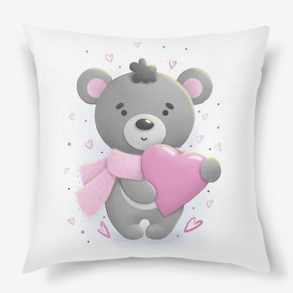 Подушка «Серый мишка с сердцем»