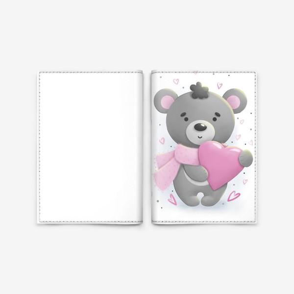 Обложка для паспорта «Серый мишка с сердцем»