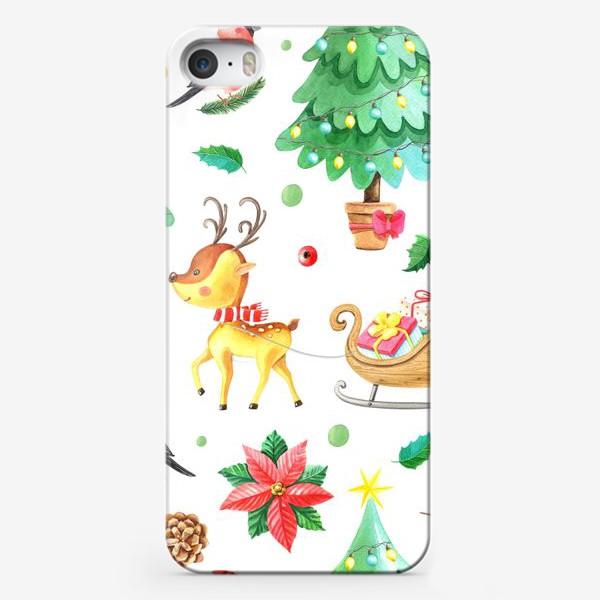 Чехол iPhone «Новогодний паттерн с олененком и снегирем»
