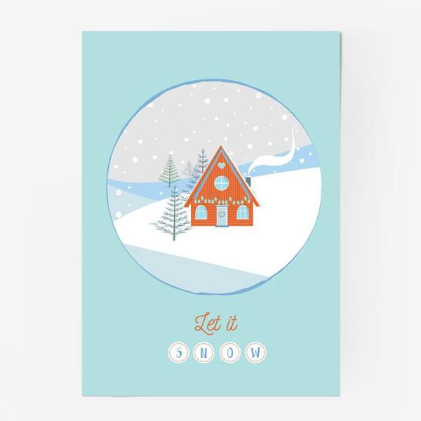 Постер «Сказочный зимний домик в лесу»