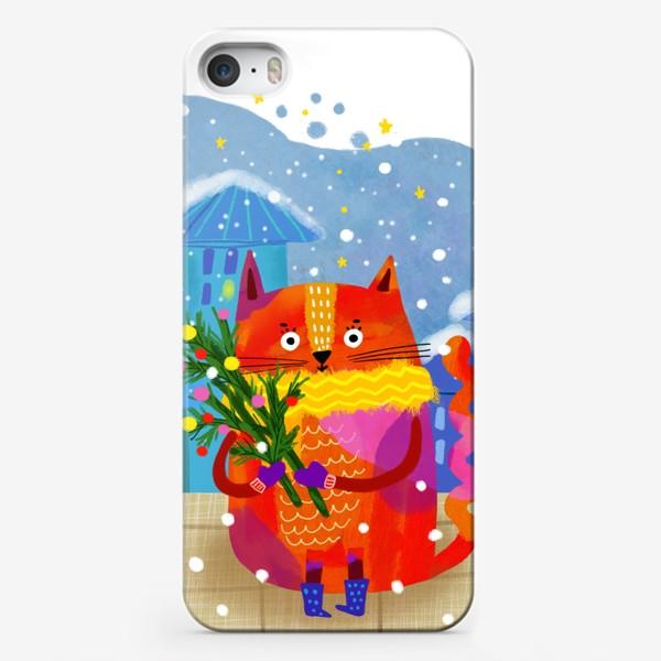 Чехол iPhone «Зимний кот»