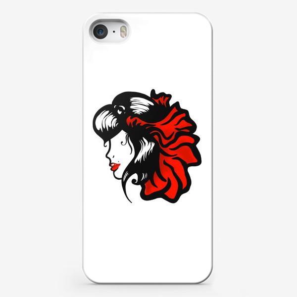 Чехол iPhone «Портрет девушки с красным цветком в волосах»