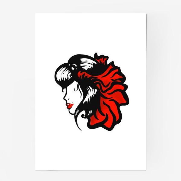 Постер «Портрет девушки с красным цветком в волосах»