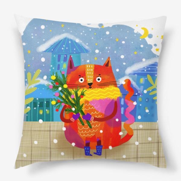 Подушка «Зимний кот»