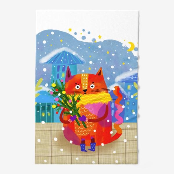 Полотенце «Зимний кот»