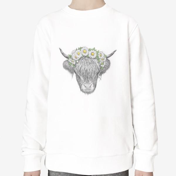 Свитшот «Шотландская корова с ромашками»