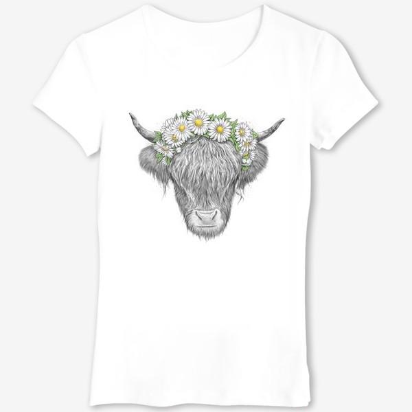 Футболка «Шотландская корова с ромашками»