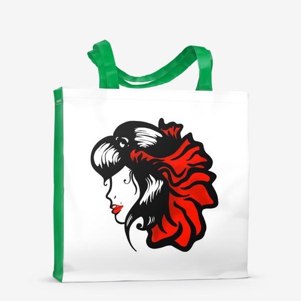 Сумка-шоппер «Портрет девушки с красным цветком в волосах»