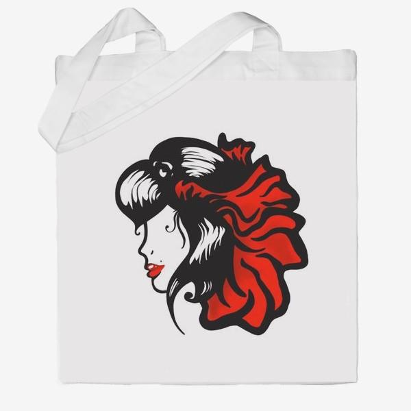 Сумка хб «Портрет девушки с красным цветком в волосах»