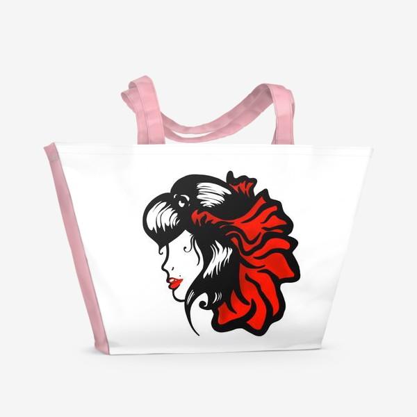 Пляжная сумка «Портрет девушки с красным цветком в волосах»