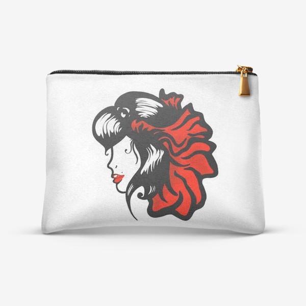 Косметичка «Портрет девушки с красным цветком в волосах»