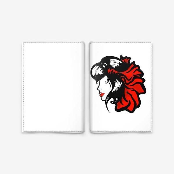 Обложка для паспорта «Портрет девушки с красным цветком в волосах»