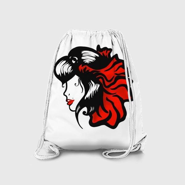 Рюкзак «Портрет девушки с красным цветком в волосах»