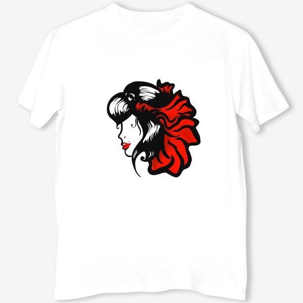 Футболка «Портрет девушки с красным цветком в волосах»