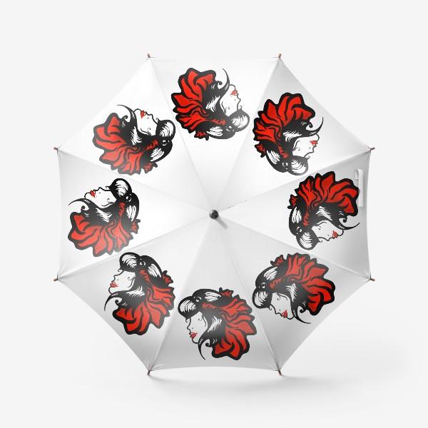 Зонт «Портрет девушки с красным цветком в волосах»