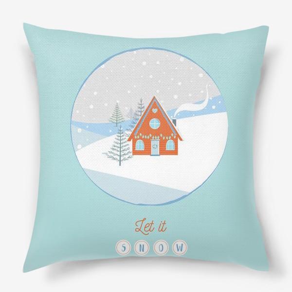 Подушка «Сказочный зимний домик в лесу»
