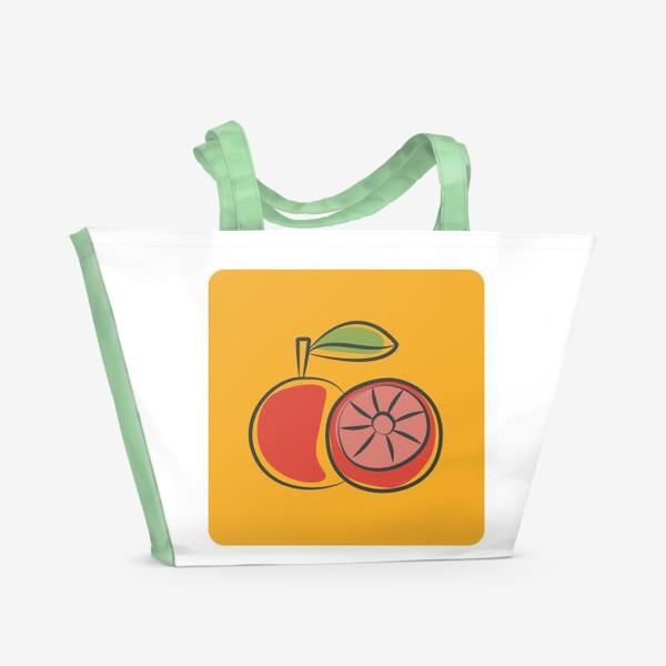 Пляжная сумка «Апельсин на желтом фоне »