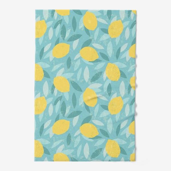 Полотенце «Узор с лимонами на голубом фоне»