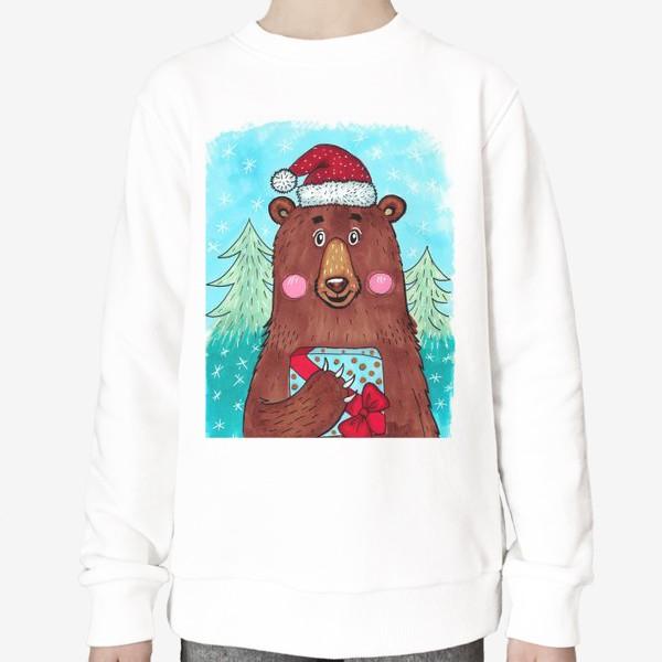 Свитшот «Милый новогодний мишка с подарком»
