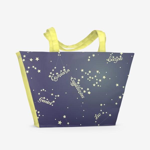 Пляжная сумка «Знаки зодиака в ночном небе»