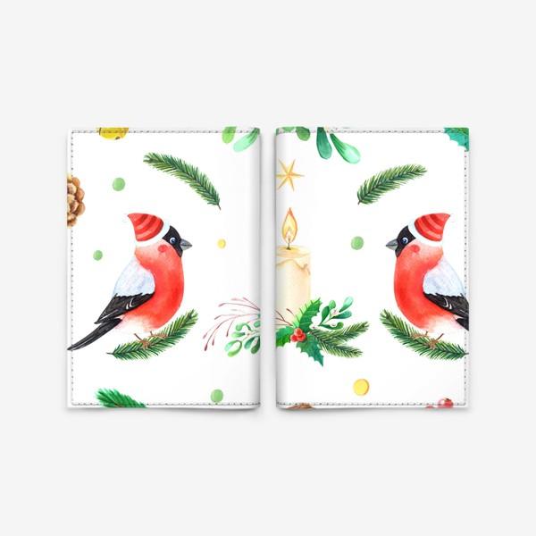 Обложка для паспорта «Паттерн со снегирями»
