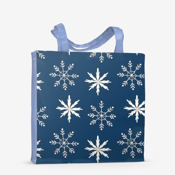 Сумка-шоппер «Снежинки на темно-синем фоне»