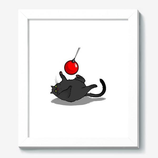 Картина «Чёрный кот играет с новогодним шариком »