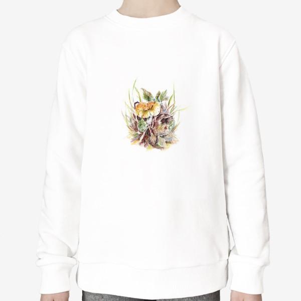 Свитшот «Гриб и листья осенняя ботаническая иллюстрация акварель»