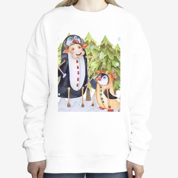 Свитшот «Год быка. Новогодняя открытка с пингвином и быком.»