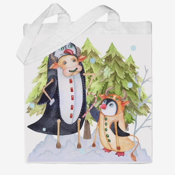 Сумка хб «Год быка. Новогодняя открытка с пингвином и быком.»