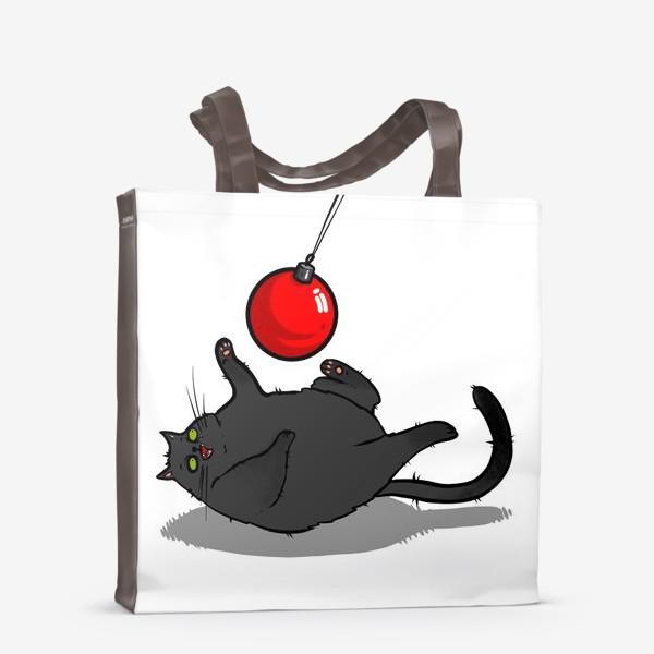 Сумка-шоппер «Чёрный кот играет с новогодним шариком »