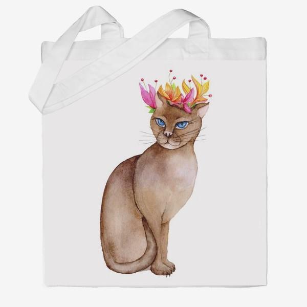 Сумка хб «Кот с короной цветов»