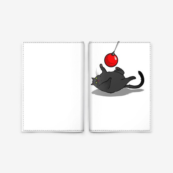Обложка для паспорта «Чёрный кот играет с новогодним шариком »