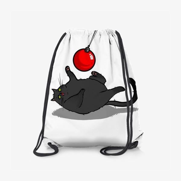 Рюкзак «Чёрный кот играет с новогодним шариком »