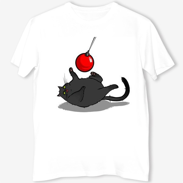 Футболка «Чёрный кот играет с новогодним шариком »