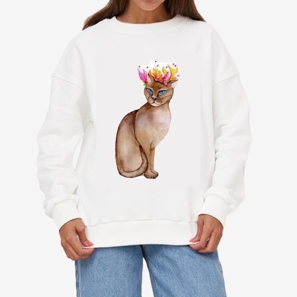 Свитшот «Кот с короной цветов»
