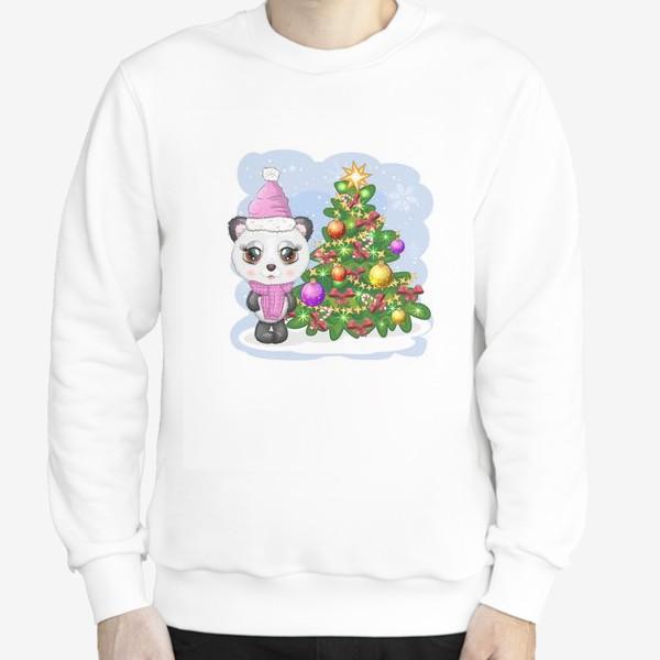Свитшот «Панда с новогодней елочкой, новый год»