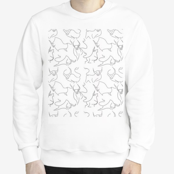 Свитшот «Паттерн быки на белом»