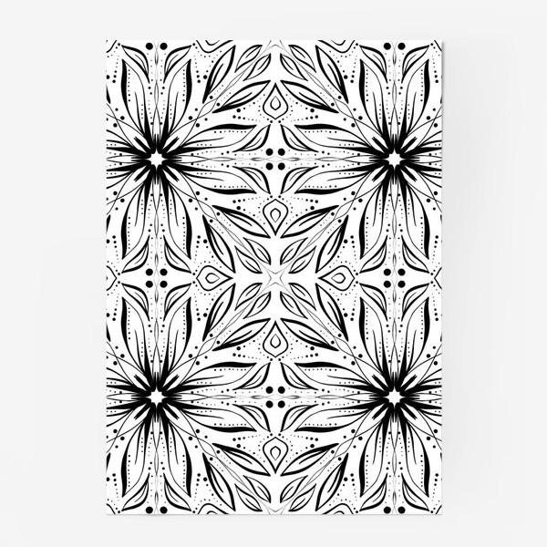 Постер «Черно-белый узор. Цветы »