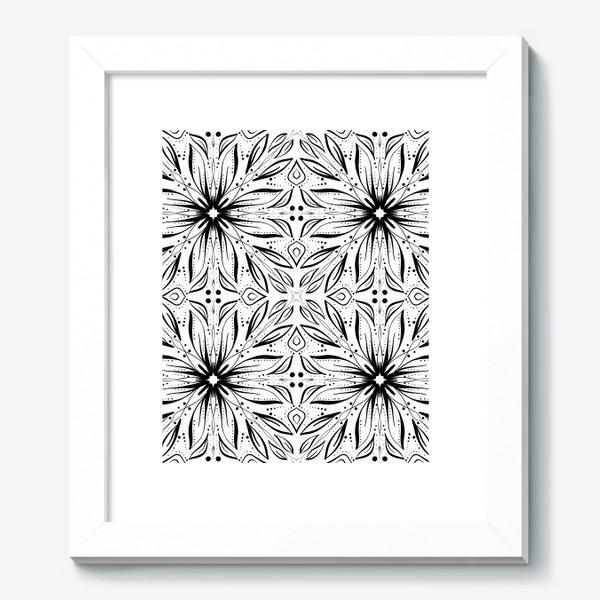 Картина «Черно-белый узор. Цветы »