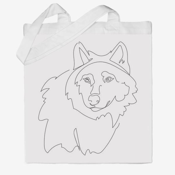 Сумка хб «Волк. Графика. Линейный рисунок»