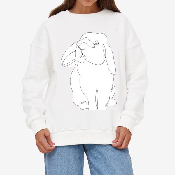 Свитшот «Кролик. Графика. Линейный рисунок»
