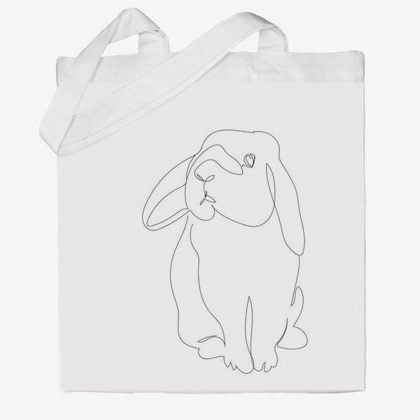 Сумка хб «Кролик. Графика. Линейный рисунок»