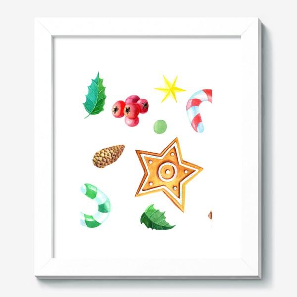 Картина «Бордюр с имбирным печеньем,конфетами и шишками.»