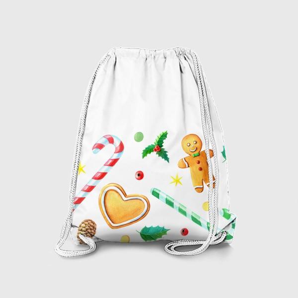 Рюкзак «Бордюр с имбирным печеньем,конфетами и шишками.»